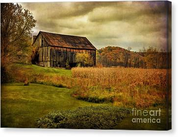 Cornfield Canvas Print - Old Barn In October by Lois Bryan