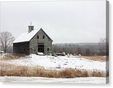 Old Barn In The Snow Canvas Print by Benjamin Williamson