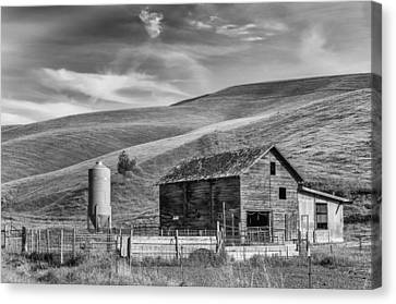 Canvas Print featuring the photograph Old Barn Monochrome by Chris McKenna