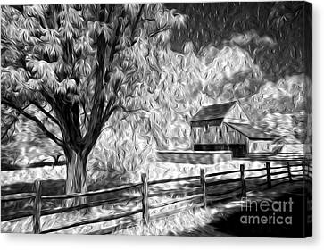 Old Barn - Old Tree Canvas Print by Paul W Faust -  Impressions of Light