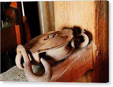 Old Barn Pulley Canvas Print by Heather Allen