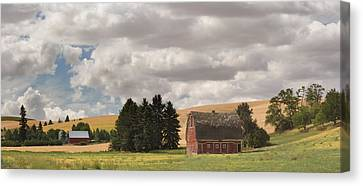 Old Barn Under Cloudy Sky, Palouse Canvas Print by Panoramic Images