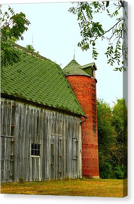 Old Barn With Brick Silo II Canvas Print