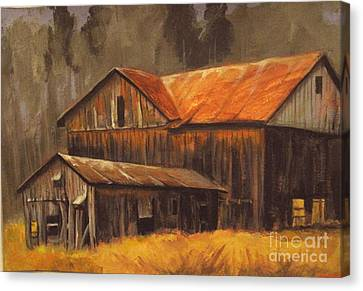 Canvas Print featuring the painting Old Barns by Carol Hart
