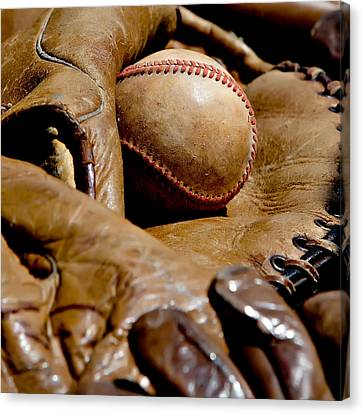 Old Baseball Ball And Gloves Canvas Print by Art Block Collections