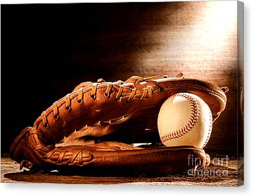 Glove Ball Canvas Print - Old Baseball Glove by Olivier Le Queinec
