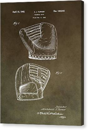 Old Baseball Mitt Patent Canvas Print by Dan Sproul