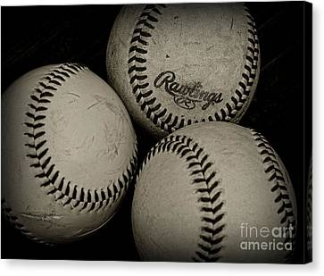 Old Baseballs Canvas Print by Paul Ward