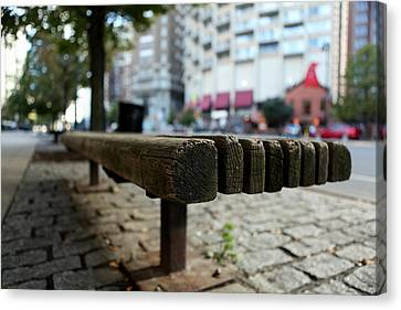 Canvas Print featuring the photograph Old Bench In Philadelphia by Dorin Adrian Berbier