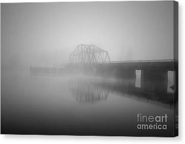 Old Berkley Dighton Bridge Bw Canvas Print
