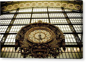 old big awsome clock from Museum dOrsay in Paris France Canvas Print by Raimond Klavins