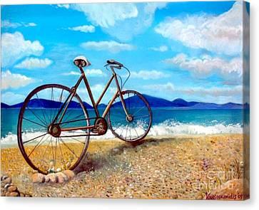 Old Bike At The Beach Canvas Print by Kostas Koutsoukanidis