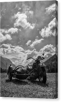 Old Bike In Black And White Canvas Print by Fabian Roessler