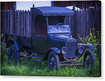 Front End Canvas Print - Old Black Ford Truck by Garry Gay