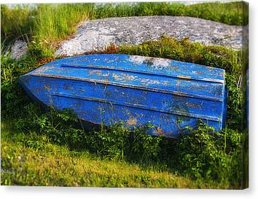 Old Blue Boat Canvas Print by Garry Gay