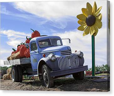 Canvas Print featuring the photograph Old Blue Farm Truck  by Patrice Zinck