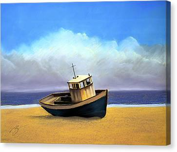 Old Boat - Pastel Canvas Print