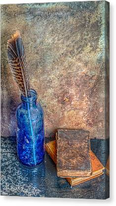 Old Books A Bottle And A Feather Still Life Canvas Print