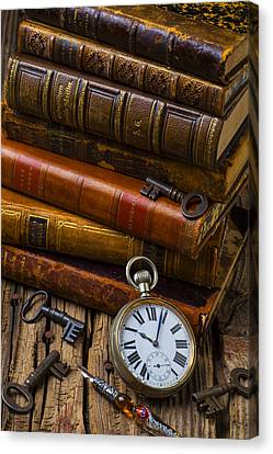 Old Books And Pocketwatch Canvas Print by Garry Gay