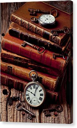 Old Books And Watches Canvas Print by Garry Gay