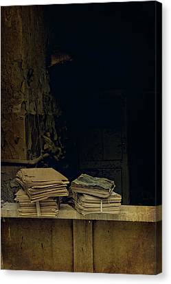 Old Plank Tables Canvas Print - Old Books by Jaroslaw Blaminsky