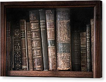 Old Books On The Shelf - 19th Century Library Canvas Print by Gary Heller