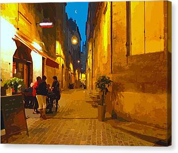 Old Bordeaux By Night Canvas Print by Bishopston Fine Art