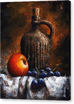Old Bottle And Fruit Canvas Print