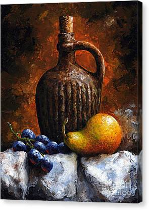 Old Bottle And Fruit II Canvas Print by Emerico Imre Toth