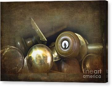 Old Brass Door Knobs Canvas Print by Jane Rix