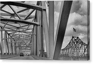 Canvas Print featuring the photograph Old Bridge New Bridge by Janette Boyd