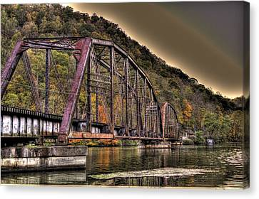 Canvas Print featuring the photograph Old Bridge Over Lake by Jonny D