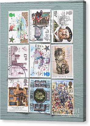 Old British Postage Stamps Canvas Print by Jan Bickerton