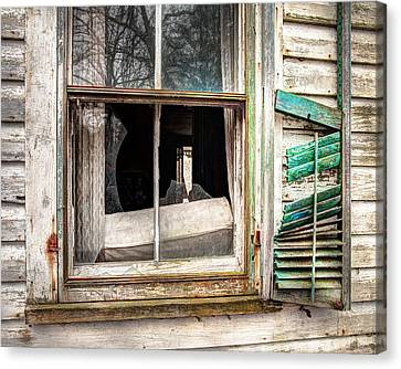 Old Broken Window And Shutter Of An Abandoned House Canvas Print by Gary Heller