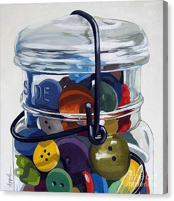 Old Button Jar Canvas Print by Linda Apple