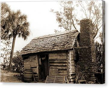 Old Cabin At Turkey Creek, Log Cabins, African Americans Canvas Print by Litz Collection