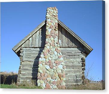 Canvas Print featuring the photograph Old Cabin Chimney by J L Zarek