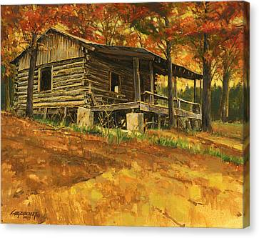 Old Cabin In Autumn Canvas Print by Don  Langeneckert