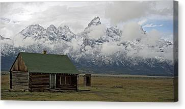 Old Cabin In  Grand Tetons Canvas Print