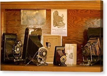 Canvas Print featuring the photograph Old Cameras by Roseann Errigo