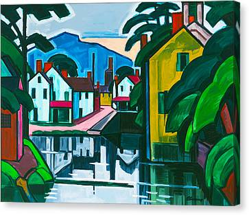 Old Canal Port Canvas Print by Oscar Bluemner