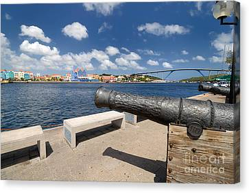 Old Cannon And Queen Juliana Bridge Curacao Canvas Print by Amy Cicconi