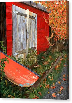 Canvas Print featuring the painting Old Canoe by Lynne Reichhart