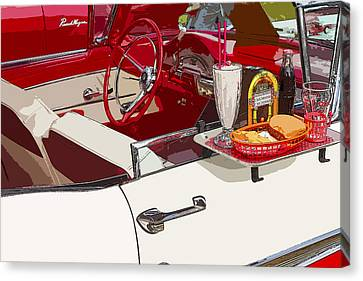 Hamburger Canvas Print - Old Car At Drive In Restaurant by Keith Webber Jr