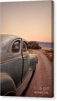 Old Country Roads Canvas Print - Old Car On A Dirt Road by Jill Battaglia