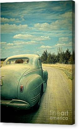 Old Country Roads Canvas Print - Old Car On Dirt Road by Jill Battaglia