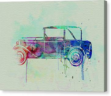 Old Car Watercolor Canvas Print by Naxart Studio