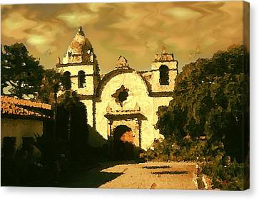 Old Carmel Mission - Watercolor Drawing Canvas Print by Art America Gallery Peter Potter
