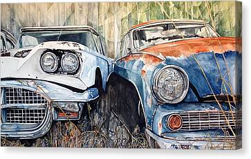 Old Cars Canvas Print by Lance Wurst