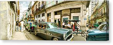Medium Group Of People Canvas Print - Old Cars On A Street, Havana, Cuba by Panoramic Images